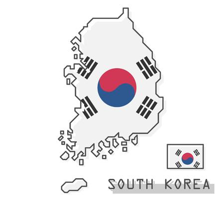 South korea map and flag . Modern simple line cartoon design . Vector