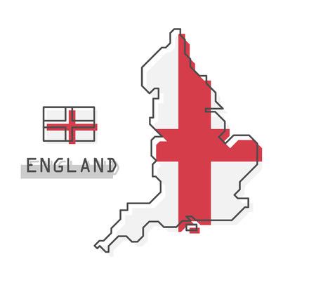 England map and flag . Modern simple line cartoon design . Vector . Illustration