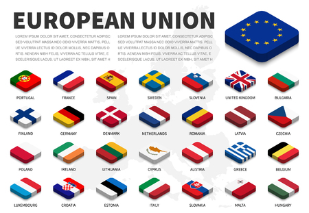 European union ( EU ) flag and membership on europe map background . Isometric top design . Vector . Vettoriali