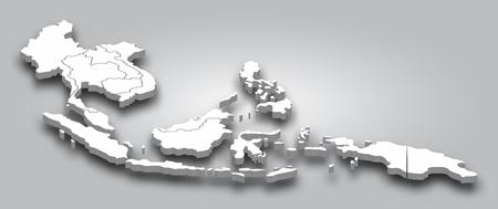 Carte 3D Asie du Sud-Est avec vue en perspective sur fond dégradé de couleur grise. Vecteur. Vecteurs