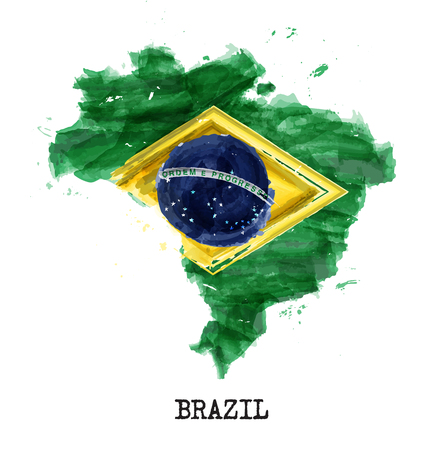 Brazil flag watercolor painting design . Country map shape . Independence day concept ( 7 September 1822 ) . Vector . Zdjęcie Seryjne - 123126078