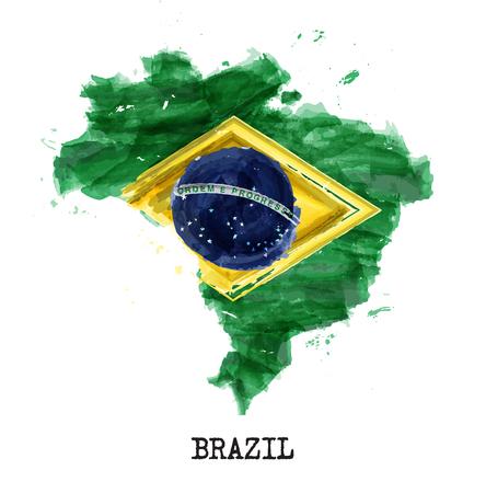 Diseño de pintura de acuarela de bandera de Brasil. Forma del mapa del país. Concepto del día de la independencia (7 de septiembre de 1822). Vector. Ilustración de vector