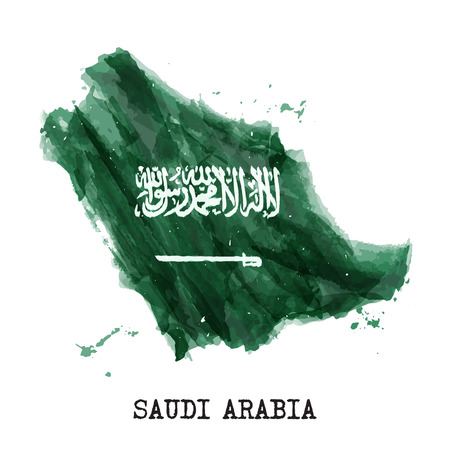 Saudi arabia flag watercolor painting design . Country map shape . Independence day concept ( 23 September ) . Vector . Ilustração