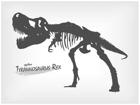 Tyrannosaurus Rex skeleton silhouette on gray gradient background . Vector .
