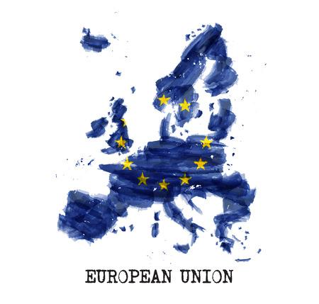 European union flag ( EU ) watercolor painting design . Country map shape . Vector . Stock Illustratie