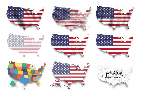 United states of america map and flags set . Multiple graphic design such as waving , watercolor painting , dotted style , etc . Independence day concept . Element vector . Ilustrace