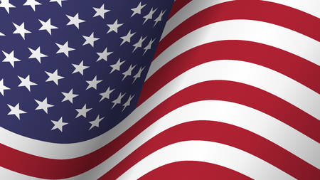 America flag background collection . Waving design . Ratio 16 : 9 . 4th of July independence day concept . Vector