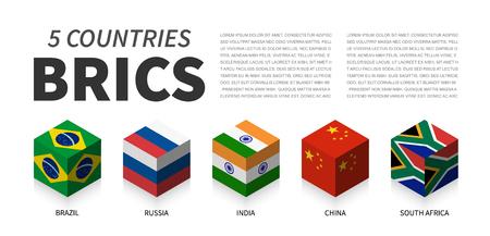 BRICS flag . Association of 5 countries . 3D cubic isometric top design . Vector 일러스트