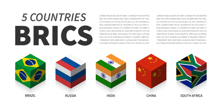 BRICS flag . Association of 5 countries . 3D cubic isometric top design . Vector Illustration