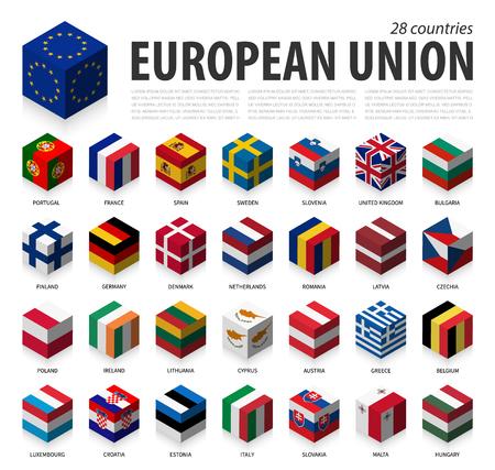 Europäische Union und Mitgliedschaft. EU . 3D kubische Flagge isometrisches Top-Design. Vektor Vektorgrafik