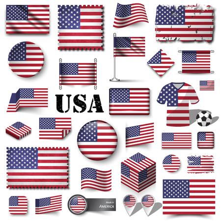 America flag . Set of various shape element vector . Ilustração