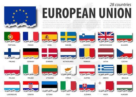 European union flag ( EU ) and membership. Torn paper design. Europe map background.