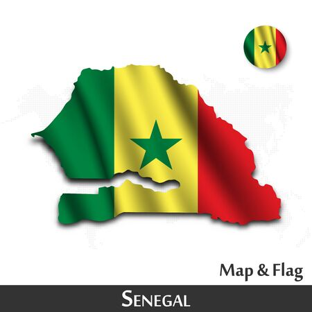 Senegal map and flag . Waving textile design . Dot world map background . Vector .