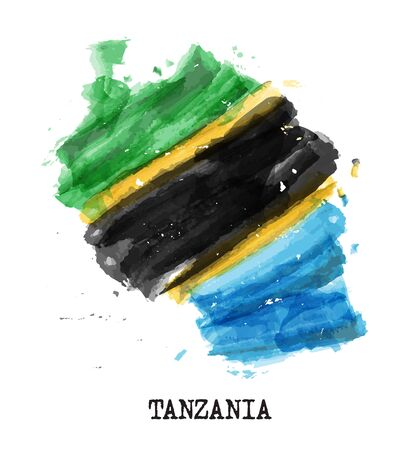 Tanzania flag watercolor painting design. Country map shape. Vector.