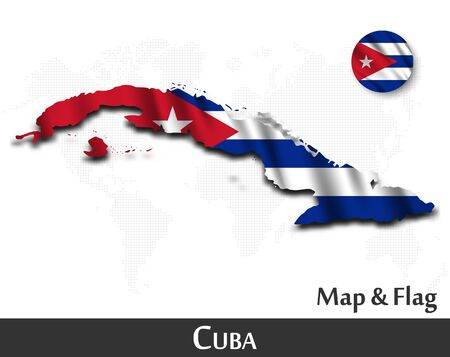 Cuba map and flag. Waving textile design. Dot world map background. Vector.