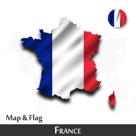France map and flag. Waving textile design. Dot world map background Vector