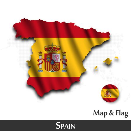 Spain map and flag. Waving textile design. Dot world map background. Vector