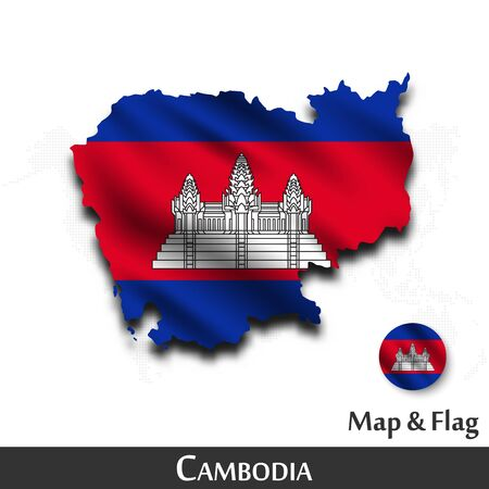 Cambodia map and flag. Waving textile design. Dot world map background. Vector Ilustracja