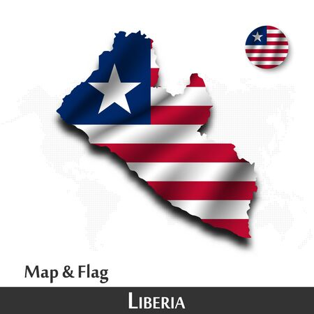 Liberia map and flag . Waving textile design . Dot world map background . Vector .
