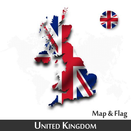 United kingdom of great Britain map and flag. Waving textile design. Dot world map background. Vector.
