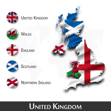 United kingdom of great britain map and flag, Waving textile design. Dot world map background. Vector
