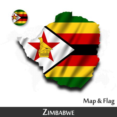 Zimbabwe map and flag . Waving textile design . Dot world map background . Vector .