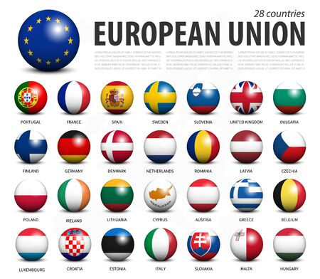 European union EU 3D circle balls line up and member flags design . White isolated background and europe map . Vector . Stok Fotoğraf - 133232564