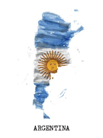 Flaga Argentyny projekt malarstwa akwarelowego i kształt mapy kraju z kolorem rozprysków. na białym tle. Wektor .