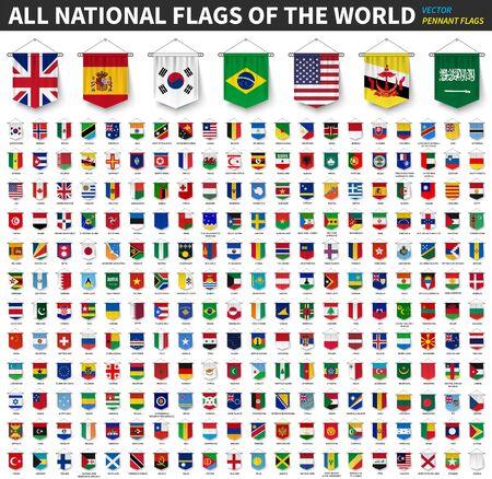 Todas las banderas nacionales del mundo. Diseño colgante de banderín realista en 3D. Fondo blanco aislado. Vector. Ilustración de vector