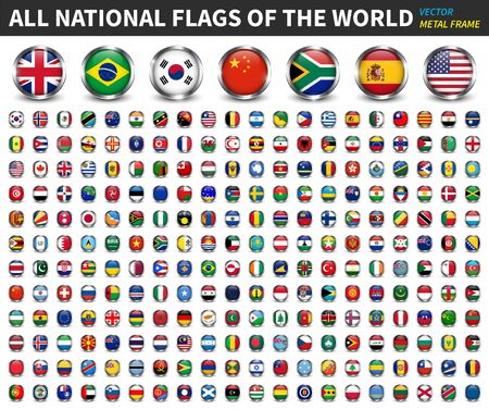 All national flags of the world . Circle metal frame with sparkle design . White isolated background . Element Vector .