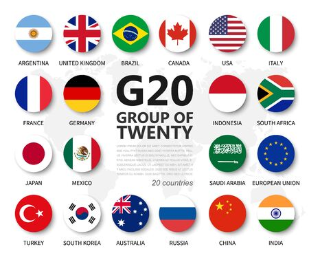 G20 . Group of Twenty countries and membership flag . International association of government econimic and financial . Flat circle element design . White isolated background . Vector Çizim