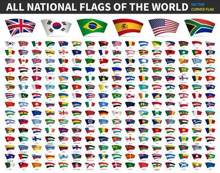 Tutte le bandiere nazionali del mondo. Disegno curvo. Sfondo bianco isolato. Vettore di elementi. Vettoriali