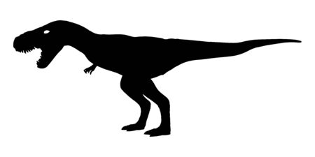 Tyrannosaurus rex ( T-rex ) is walking and snarling . Silhouette design . Side view . Vector .