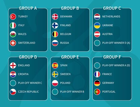 European soccer final tournament draw 2020 . Group of international football teams with flat circle country flag . Vector .