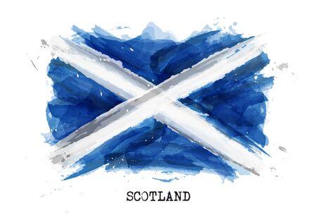Realistic watercolor painting flag of Scotland . Vector . Ilustración de vector