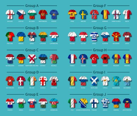 European soccer tournament qualifying draw 2020 . Group of international teams . Football jersey with waving country flag pattern . Blue theme background . Vector .