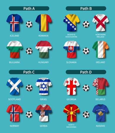 European soccer play-off draw 2020 . Group of international teams . Football jersey with waving country flag pattern . Blue theme background . Vector .