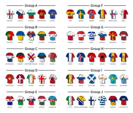 European soccer tournament qualifying draw 2020 . Group of international teams . Football jersey with waving country flag pattern . White theme background . Vector . Ilustrace
