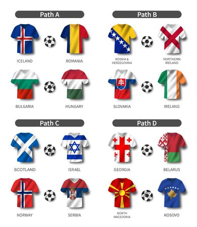 European soccer play-off draw 2020 . Group of international teams . Football jersey with waving country flag pattern . White theme background . Vector .