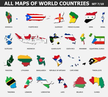 All maps of world countries and flags . Set 7 of 10 . Collection of outline shape of international country map with shadow . Flat design . Vector .