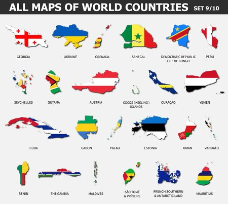 All maps of world countries and flags . Set 9 of 10 . Collection of outline shape of international country map with shadow . Flat design . Vector .