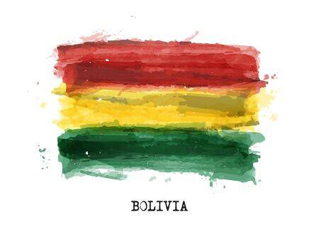 Realistic watercolor painting flag of Bolivia . Vector . Ilustracja