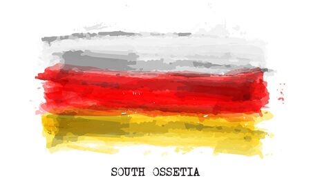Realistic watercolor painting flag of South ossetia . Vector .