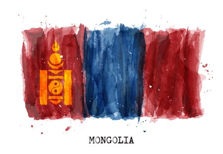 Realistic watercolor painting flag of Mongolia . Vector . 矢量图像