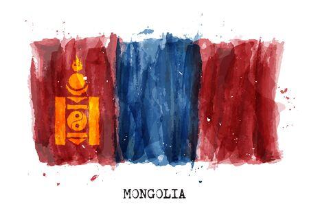 Realistic watercolor painting flag of Mongolia . Vector . Illusztráció