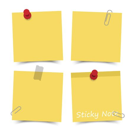 Flat design yellow color sticky notes with red pin , adhesive tape and paper clip on white board background . Vector .