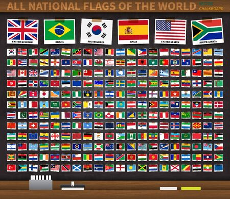 All national flags of the world on realistic black color chalkboard background . Country flag with name was attached by adhesive tape . Vector .