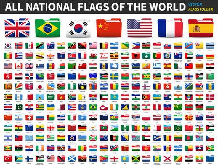 Set of all national flags of the world . Folder flag design . Element vector .