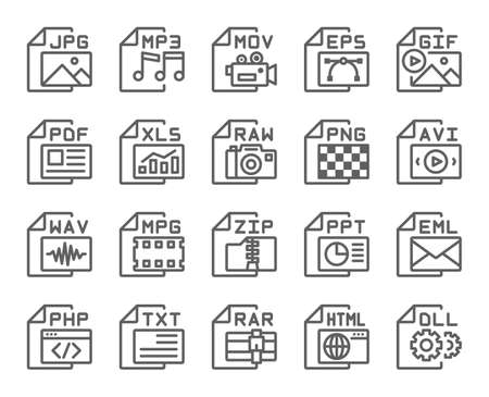 File format type outline icons set . Editable stroke . 48 x 48 pixel perfect .