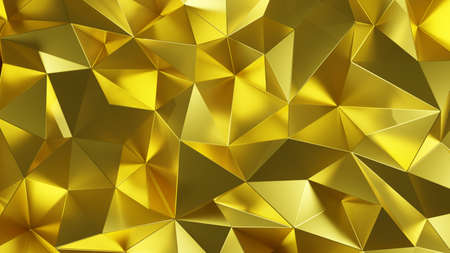 Abstract luxury gold color low poly triangle background texture . 3D rendering .